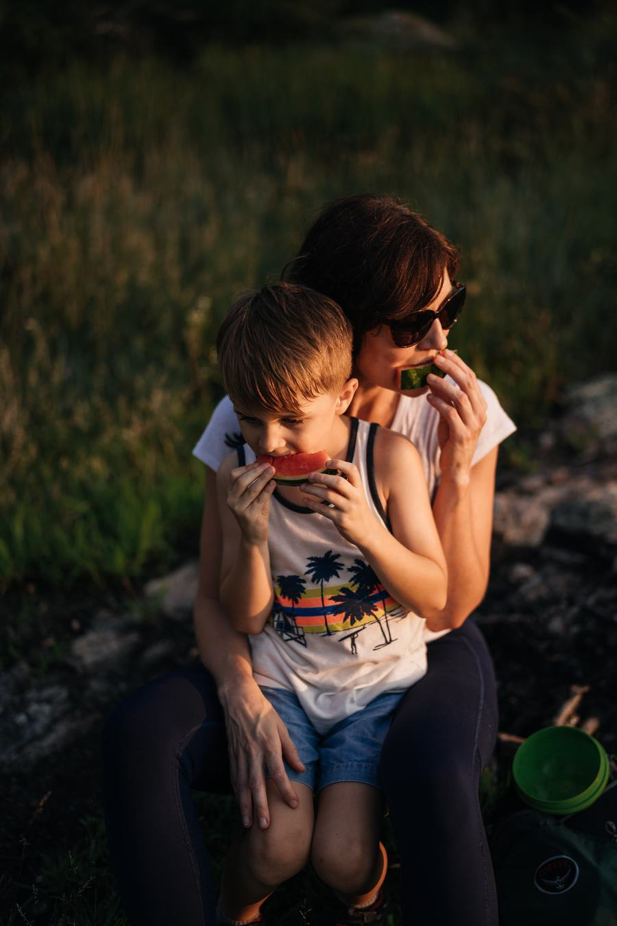 Mom and son take break during Catskill hike to eat watermelon