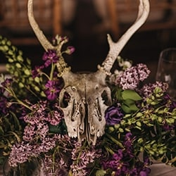 Deer skull in purple wildflowers as wedding reception decoration.
