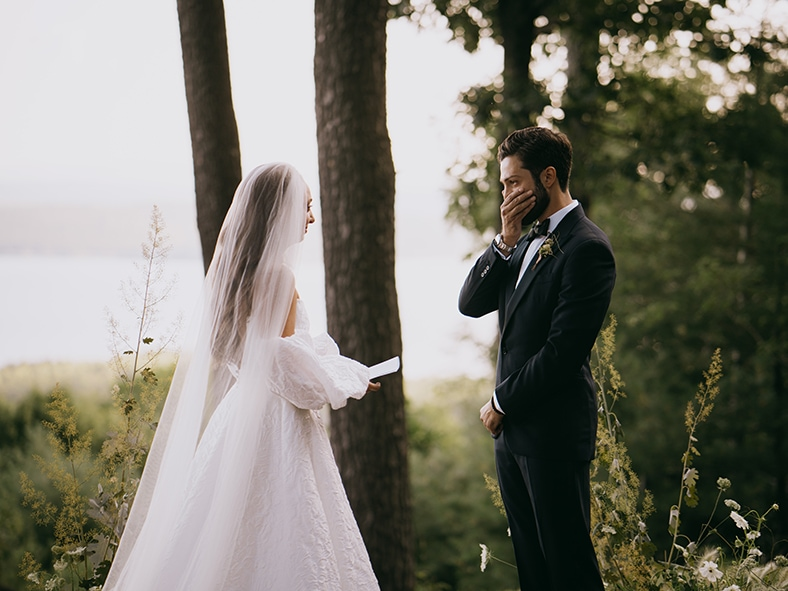 Groom cries during vows of his wedding
